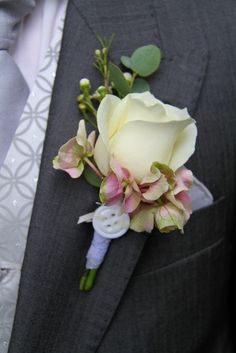 Avalanche Rose Boutonniere with Wax Flower Hydrangeas each one was finished a unique and individual way with lace, buttons, pearls and ribbons Prom Flowers, Wax Flowers, Diy Wedding Flowers, Flower Bouquet Wedding, Floral Wedding, Prom Corsage And Boutonniere, Rose Boutonniere, Corsage Wedding, Corsages