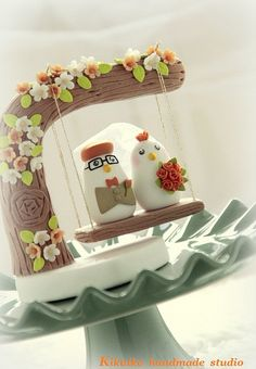 Wedding Cake Topper -Handmade love birds with love flower tree and a swing by charles fukuyama, via Flickr