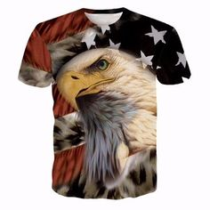 Men Women Harajuku Sexy Rock Prints tshirts Cool Lions Wolf Flag Eagle 3D t shirt Male Female Vintage t shirts tees