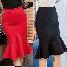 Commandez Women Pencil Skirt Fashion Ol Slim Bodycon Skirt Ruffles Hem Mermaid Style Plus Size Ladies Office Skirt sur Wish - Acheter en s'amusant Pencil Dress Outfit, Pencil Skirt Casual, Satin Pencil Skirt, Pencil Skirt Outfits, Pencil Skirts, Modest Outfits, Chic Outfits, Office Skirt Outfit, Moda Vintage