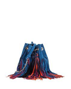 Roger Vivier Prismick Multicolor Suede Fringe Bucket Bag 20568d0d02b88