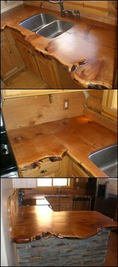 cabin or a rustic themed house isn't complete without a rustic kitchen countertop! If you're (re)designing your home or kitchen for the rustic look, here's some wonderful inspiration!A cabin or a rustic themed house isn't complete without a rustic kitche Home Design, Küchen Design, Rustic Design, Interior Design, Design Ideas, Design Elements, Cabin Homes, Log Homes, Wood Countertops