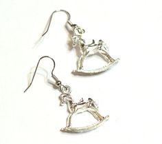 Silver Rocking Horse Charm Earrings - Childrens Toy Earrings - Whimsical Design Jewelry by SKWOriginalsbySummer on Etsy