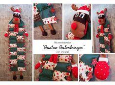 Foto für Schnittmuster Gustav Gabenbringer von shesmile Christmas Stockings, Giraffe, Advent Calendar, Holiday Decor, Google, Sewing Patterns, Puppets, Tutorials, Christmas