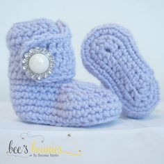 Lavender Newborn Crochet Booties by Bee's Beanies on Etsy, $18.00