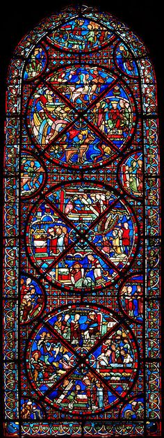 Bourges Cathedral (Cathédrale Saint-Étienne de Bourges)   An Ambulatory Window, Bay 15 The invention of the relics of St Stephen. The windows of the ambulatory date to the early 13th century.