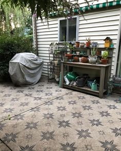 "cori kindred on Instagram: ""i realized i haven't shared my finished patio painting project! i used a stencil purchased off @etsy (the shop name is stencilon, the…"""
