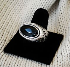 Silver Sterling 925 Oval Black Onyx Stone Repousse Designer FF Ring Size 7 #Handmade #Cocktail #Party