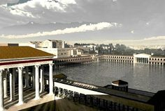 Reconstruction of the lake in the Domus Aurea (now the place of the Colosseum)