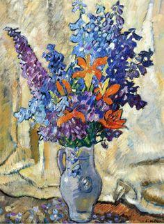 Lilies and Delphiniums Stoneware Pitcher , c.1920, by Louis Valtat