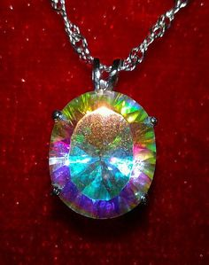 BREATHTAKING RAINBOW (MYSTIC) TOPAZ PENDANT,NECKLACE SET, SOLID STERLING SILVER~FREE SHIPPING!