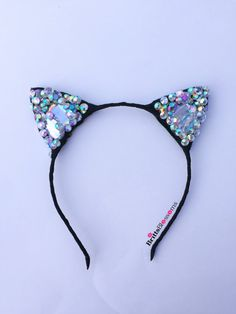 Sparkle Kitty Ears *front and back sparkles **Choose color of LEDs in notes section** -red -white -pink -blue -green Bow Hairband, Cat Ears Headband, Lolita Hair, Sam And Cat, Leaf Crafts, Cute Headbands, Cat Valentine, Anime Hair, Girls Hair Accessories