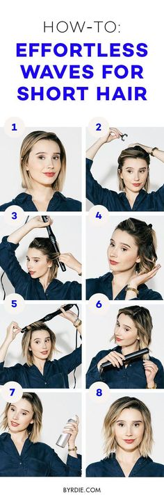 This easy tutorial demonstrates how to curl short hair so your style ends up effortlessly tousled and super-chic.