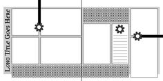 """Double Page Scrapbook Sketch...Use two 12"""" x 12"""" sheets of card stock or paper as the base •Cut two background mats 11½"""" x 10"""" •Cut a 2½"""" x 6"""" rectangle for journaling area •Cut strips of patterned paper: 6¾"""" x 2""""; 10¼"""" x 1¾""""; 7"""" x 1¾"""" •Cut two 4"""" lengths of ribbon"""