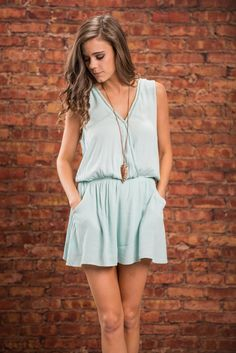 Fresh Future Romper, Light Blue || Your future looks fresh and bright with this romper in you possession! This solid light blue romper is casual yet stunning! The elastic waistband makes sure it's flattering and we love that it has pockets! The shorts are loose and flowy almost giving the illusion of it being a dress! Light Blue Romper, Spring 2016, Illusion, Rompers, Bright, Pockets, Fresh, Future, Shorts