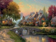 Belle Image Nature, Thomas Kinkade Art, Kinkade Paintings, Oil Paintings, Scenery Paintings, Abstract Paintings, Landscape Paintings, Abstract Art, Thomas Kincaid