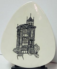 Mid Century Modern Ceramic Townhouse Wall Hanging by EdibleComplex, $12.00