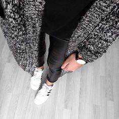 Adidas Sneakers // Leather Pants // Black Top // Cardigan…