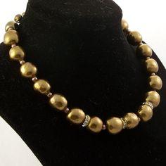 Vintage 1950s Necklace Bronze Copper Glass Rhinestones by Revvie1, $22.00