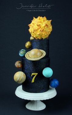 Solar System Birthday Cake by Jennifer Holst Sugar Cake & Chocolate Beautiful Cakes, Amazing Cakes, Solar System Cake, Sun Cake, Rocket Cake, Planet Cake, Galaxy Cake, Novelty Cakes, Creative Cakes