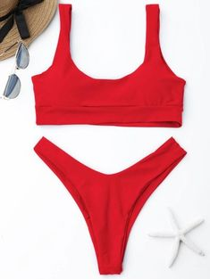 SHARE & Get it FREE | Scooped High Cut Bikini Set - Bright Red MFor Fashion Lovers only:80,000+ Items • New Arrivals Daily Join Zaful: Get YOUR $50 NOW!