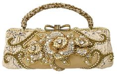 Mary Frances Champagne Kisses Gold & Silver Handheld Convertible Clutch Handbag