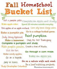 Homeschool Fall Bucket List {Free Printable} - {Fall Weekend Links} from HowToHomeschoolMyChild.com