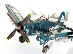 Vintage Large Metal Toy  Airplane model by RetroGustoMenta on Etsy, €248.00