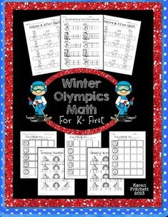Winter Olympics Morning Work Math packet. 8 worksheets to address counting on, missing numbers, number sequences, and ten frames. 0-20 and 0-100 included. Great for Kindergarten-1st.