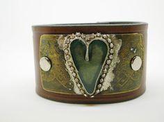Soldered Heart Leather cuff bracelet  Love Has Wings