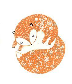 """Affiche format A5 """"Mon petit Renard"""" d'après une illustration originale acrylique  oMamaWolf"""