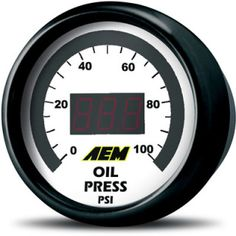 AEM's digital oil pressure gauges include a 0-5v analog output for use with data loggers and virtually any engine management system, such as the Infinity ECU, Series 2 EMS or AQ-1 Data Logger, making them the perfect solution for users who need to monitor and data log oil pressure at high RPM on tuned engines. Each gauge includes interchangeable silver and black bezels and black and white faceplates to personalize the look of your gauge.  Part #: 30-4401