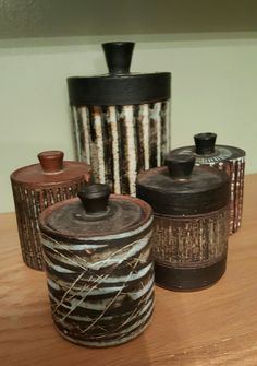 Lidded pots Ceramic Pottery, Pots, British, Jar, Ceramics, Home Decor, Boxes, Ceramica, Pottery