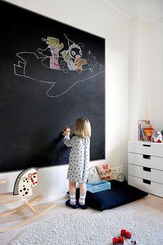 Paredes de pizarra en habitaciones infantiles