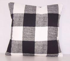 Black Check Pillow Toss Pillow Black by Cathyscustompillows