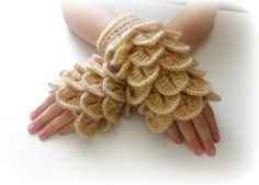 Fingerless Gloves  Gloves Caramel Brown light by Iovelycrochet, $32.00