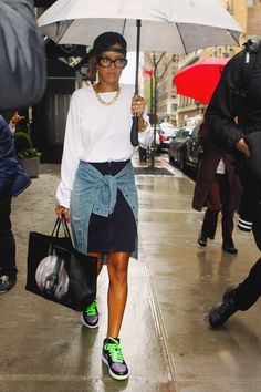 (Cold & 50/50) Girly Tomboy (Rihanna) // Black Hat (flipped backwards), White Long Sleeve Sweatshirt, Black Skirt, Jean Shirt (tied around waist), Nike Sneakers