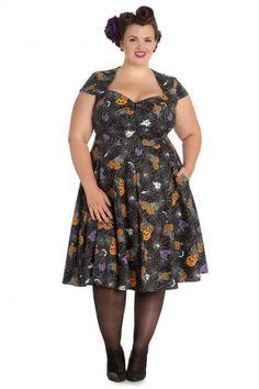 ff515b7684f Hell Bunny Plus Size Goth Black Spiderweb Bats Halloween Harlow Dress