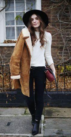 #winter #fashion / beige coat + knit