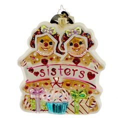 Radko GINGER SISTERS 1015214 Ornament Gingerbread Pastry Swe New