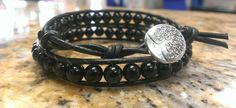 Onyx Crystal Healing Double Wrap Bracelet with Tree of Life button by DoubleDeesigns on Etsy