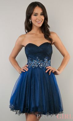 Strapless Short Prom Dresses, B Darlin Blue Prom Dress- PromGirl (Navy/Sapphire) $129.00