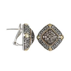 Brown Diamond Square Shape Carved Earrings in Yellow Gold & Sterling Silver