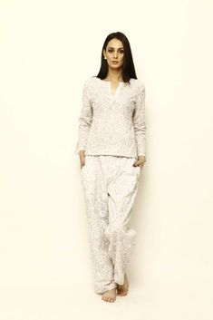 Mirabella Pajamas are constructed from super soft cotton voile hand block printed with azo-free dyes. Cut for a relaxed fit and fully lined with cotton, th Luxury Clothing Brands, Seamless Leggings, Cotton Pyjamas, Fashion Night, Pajamas Women, Pajama Set, Pajama Pants, Nightwear, Everyday Fashion