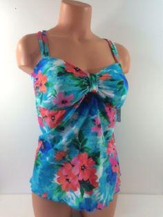Island Escape Womens Tankini Swim Top ONLY Floral Underwire H-Back Empire 16W