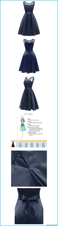 0a751d665edb9 Gorgeous Bridal Women s Vintage Floral Lace Sleeveless Jewel Swing Casual  Cocktail Bridesmaid Dresses-S-Navy Blue