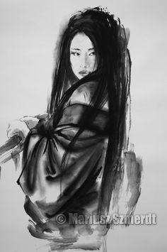 Asian girl - japanese woman. https://www.etsy.com/listing/193108888/geisha-figurine-fine-art-print-large? #japanesewoman #asianart #inkpainting #womanportrait #geishaart #geisha #inkart #arte