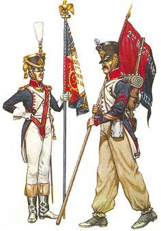 • 'Premier Porte-Aigle', 1st Battn, 9th Line, full dress, 1812 • Sergeant-Major, Fusilier company, 4th Battn, 2nd Line, with battalion flag, campaign dress, 1812