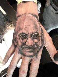 Gandhi hand portrait by Noa Yannì #InkedMagazine #gandhi #portrait #tattoo #tattoos #inked