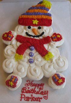 Snowman Cupcake cake
